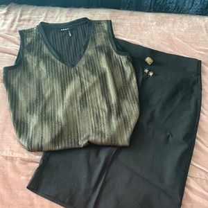 DKNY blouse with black pencil skirt and jewelry